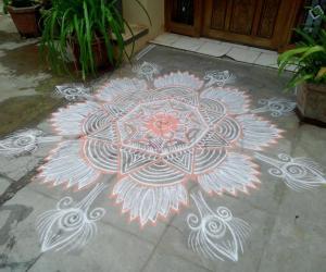 Rangoli: white lotus!