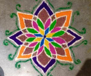 Freehand Rangoli Experiment with Glitter