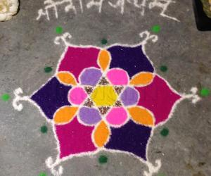 Geometric Flower Rangoli