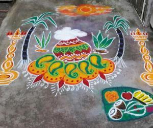 Rangoli: pongal rangoli