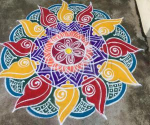 Rangoli: Vaikunta Ekadesi kolam