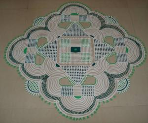 Rangoli: Padi kolam for Shri Rama Navami