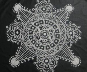 Rangoli: Free hand design in black and white