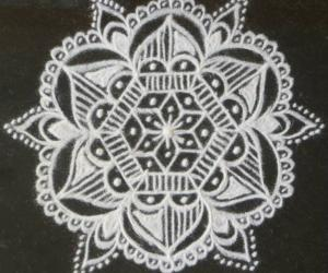 Freehand rangoli in black and white