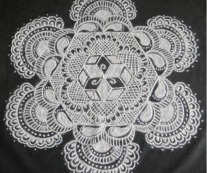 Rangoli: Free hand design in Black and White