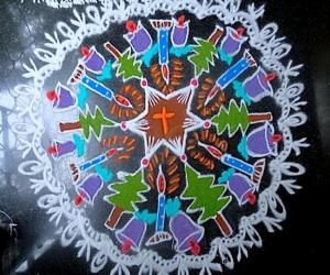 Rangoli: christmas kolam freehand design