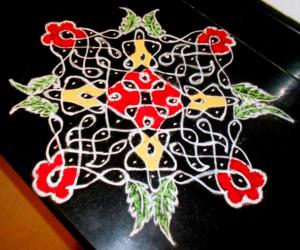 chikkukolam on kitchen top