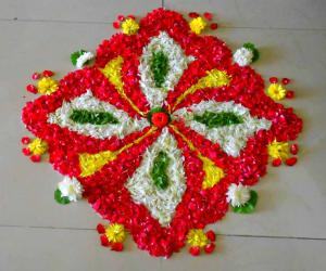 Rangoli: Red pookkolam No1