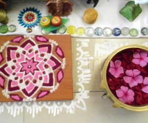 Rangoli: Hrudhayakamalam and flowers