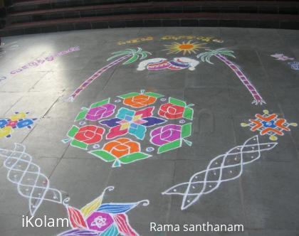 Rangoli: My pongal rangoli at my college