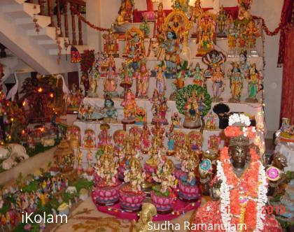 Rangoli: Traditional 7 step Navarathri Golu with Multiple Themes