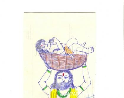 Rangoli: Baby  krishna  lying on the basket