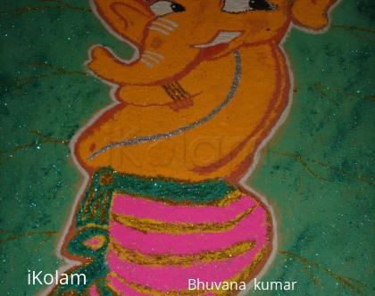 Rangoli: Nat khat Ganesha