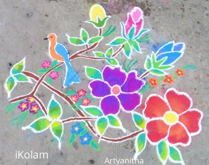 Rangoli: Freehand rangoli Bird