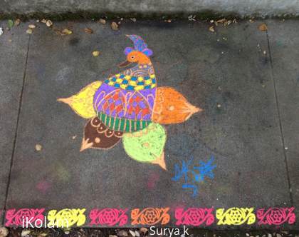 Rangoli: Multicolored bird rangoli