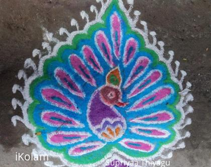 Rangoli: Freehand peacock