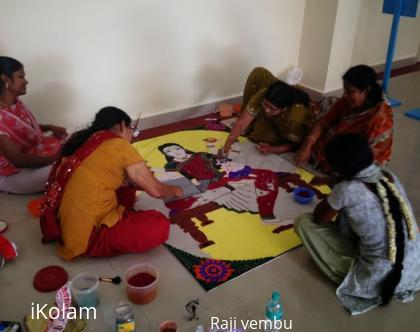 Rangoli: preparation of rangoli multi tasking lady