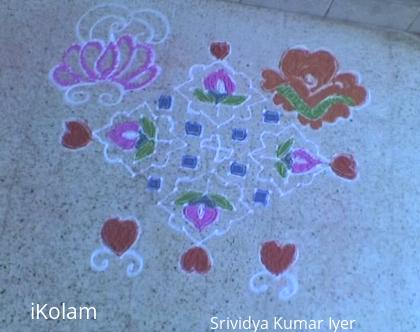 Rangoli: Happy Valentine's Day 2012  - Valentine Flower Kolam 17-1 (Ner Pulli)