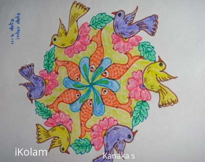 Rangoli:  bird and fish kolam