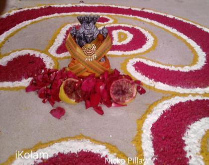Rangoli: sakthi pooja kolam