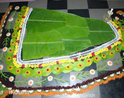 Rangoli: Rangoli around banana leaf