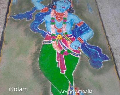 Rangoli: Free hand Krishna Diwali rangoli 2014