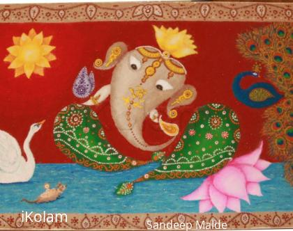 Rangoli: Ganesh with Swan and Peacock, Diwali 2016