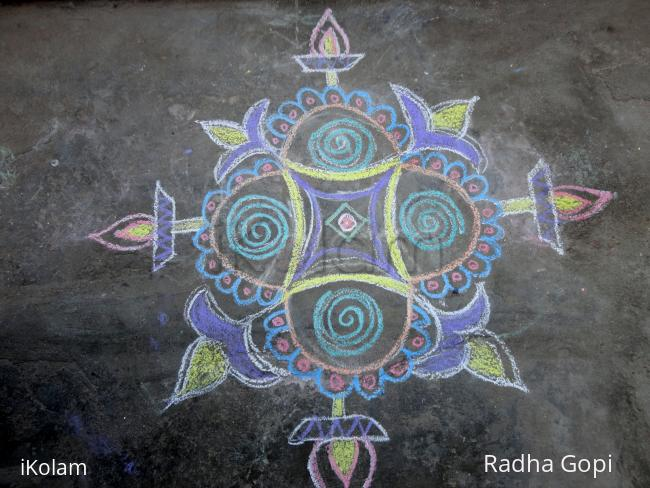 Another Pongal Kolam at the entrance of our house -