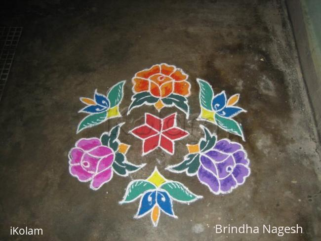 Rangoli: Colourful flowers