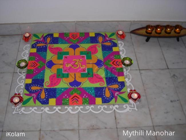 Rangoli: rangoli done during diwali 2009 at our house.