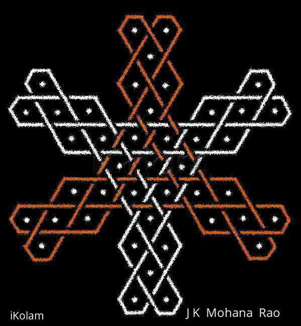 Rangoli: Hexagonal Chikku kOlam - 6