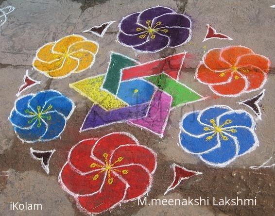 Rangoli: Rainbow Flowers kolam
