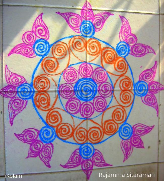 Rangoli: SuganthiMohan's quilled kolam...in colour kolapodi
