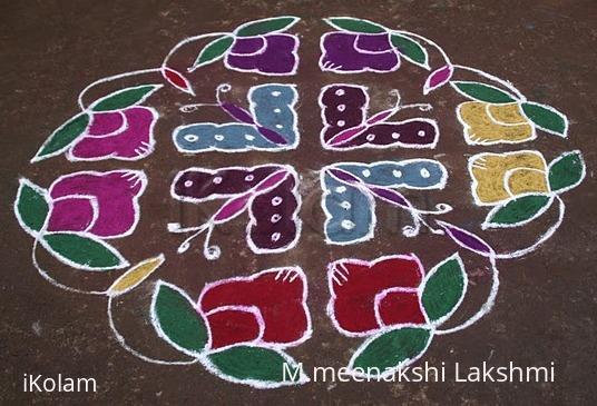 Rangoli: Twin flowers kolam