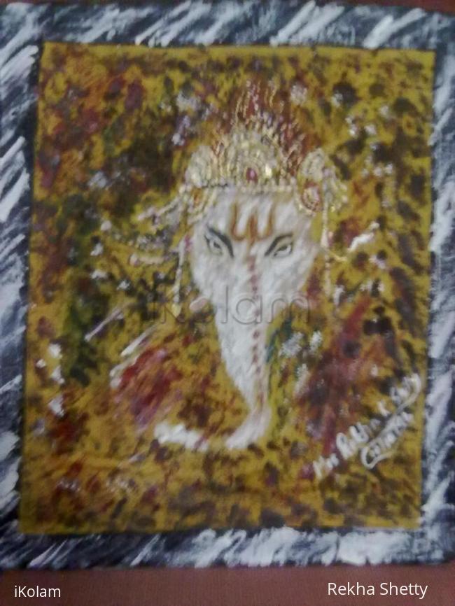 Rangoli: Ganapathi –Tooth Brush Spay painting
