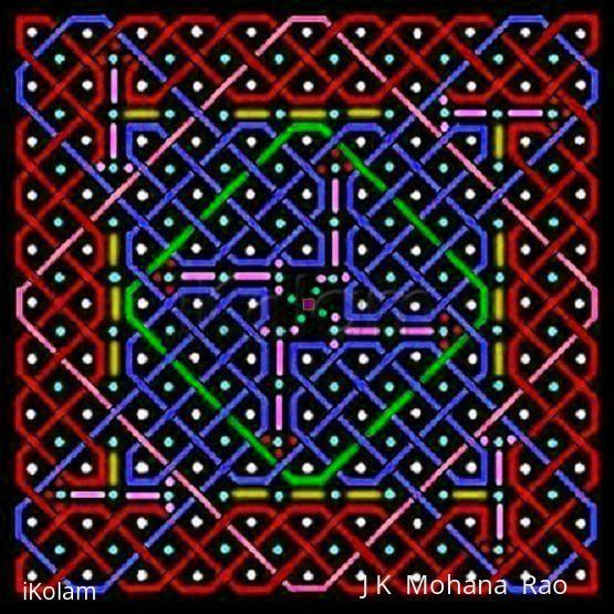 Rangoli: A rangOli with 1 to 21 to 1 dots or 11x11 dots - 3
