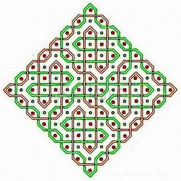 Rangoli: A rangOli with 1 to 15 dots (8X8 dots) - 4