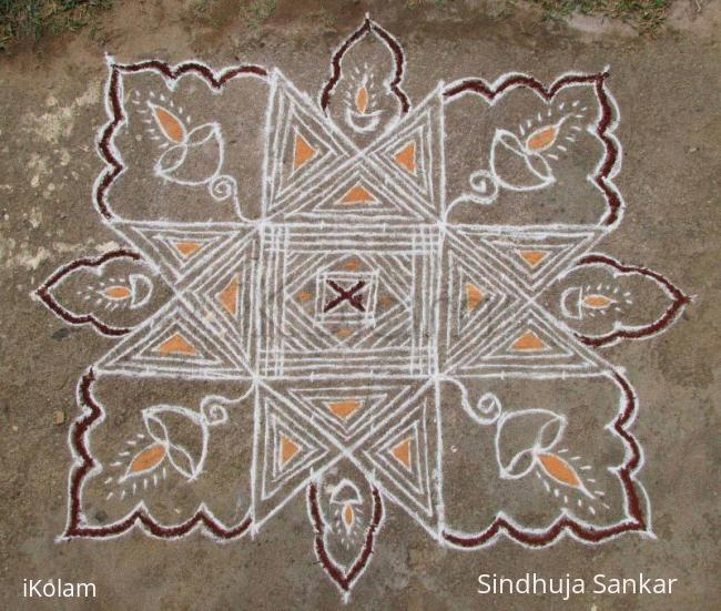 Rangoli: 10x10 Padikolam on floor