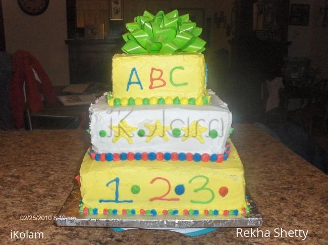 Rangoli: cake for bithday girl-Suba