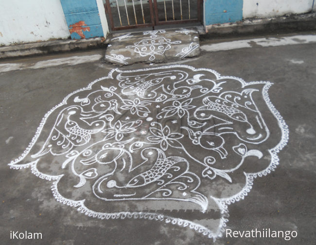 Rangoli:  Fish within Swan kolam