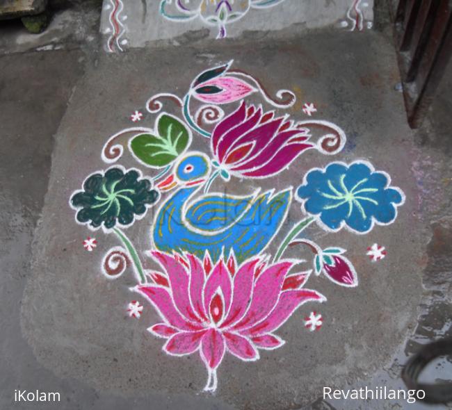 Rangoli: Duck on lotus rangoli