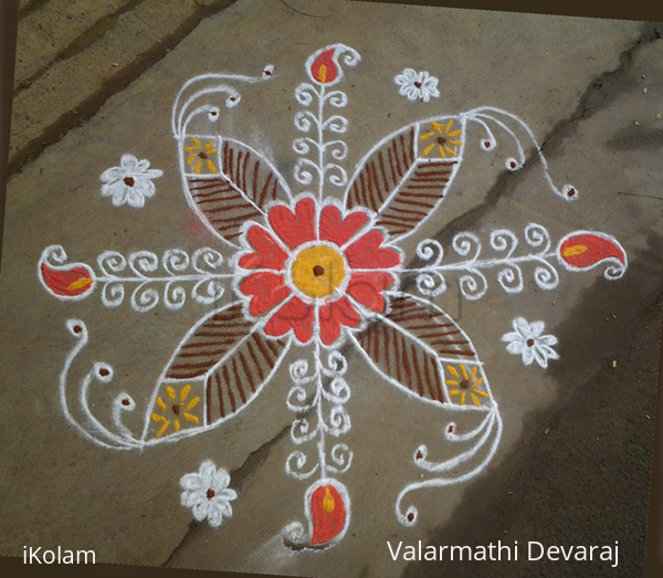 Rangoli: Rangoli design in orange