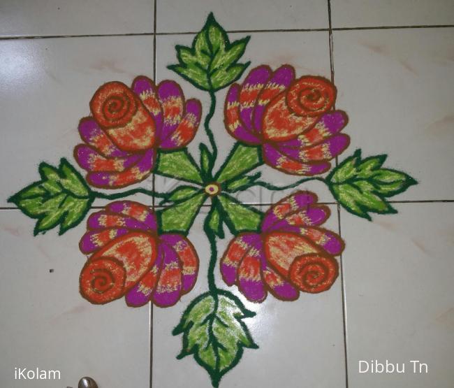 Rangoli: dotted floral kolam