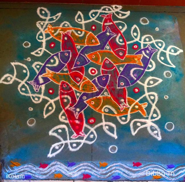 Rangoli: Fishes in the net Podikolam