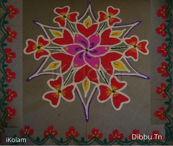 Rangoli: Red and Pink Ready to Wink
