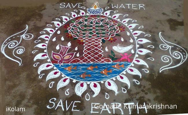 Rangoli: Water day and Earth day