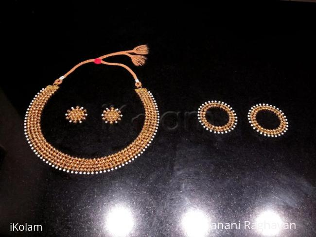 Rangoli: 2018- Navaratri- Welcoming the Universal Goddess with a Gold and Pearl jewellery set...