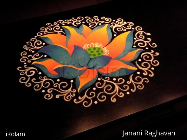 Rangoli: 2018- Neelothpala flower for the Goddess NeelothpalaabbaaL of Thiruvaaroor(TamilNadu)
