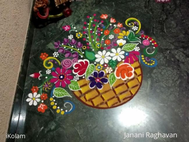Rangoli: VaLLi's Flower basket.... VaLLi is a Hindu goddess and the consort of the god Kartikeya....She grew up as the princess of the mountain tribe....She would collect forest flowers and worship the Lord....