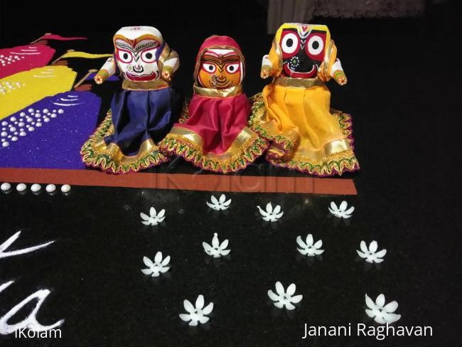 Rangoli: 2018- Puri Ratha Yatra..... Had a carpenter carve out the idols and i painted their faces and dressed them up....Jai Jaganntahji Ki...